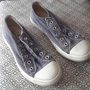 Blue Distressed Denim Converse Sneakers, Size 2